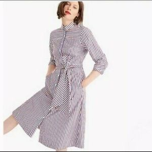 NWT J Crew Red/Blue Striped Tie Waist Shirt Dress